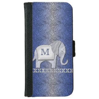 Plata/azul del monograma del paseo del elefante funda cartera para iPhone 6