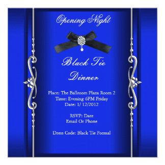 Plata azul formal del lazo negro de la noche de la invitaciones personales