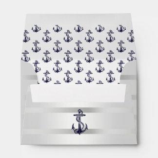 Plata azul náutica A6 blanco 6x4 del ancla de Sobres