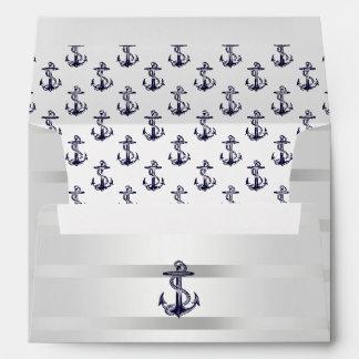 Plata azul náutica A7 blanco 5x7 del ancla de mari Sobre