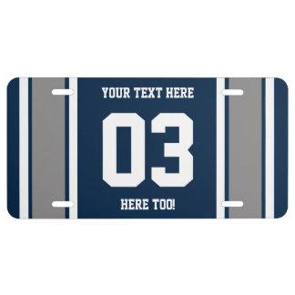 Plata azul personalizada y rayas blancas de los de placa de matrícula