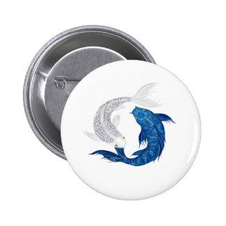 Plata azul real del fantasma de Koi Pin Redondo De 2 Pulgadas
