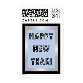 Plata azul y sellos negros de la Feliz Año Nuevo