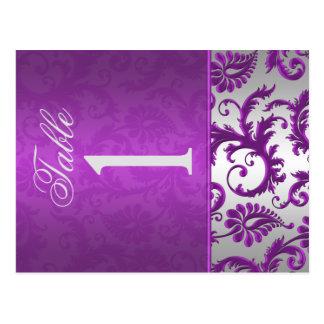 Plata bilateral y número púrpura de la tabla del d tarjetas postales