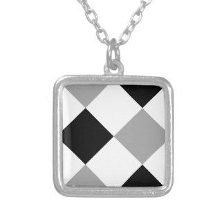 Plata blanco y negro de la tela escocesa 1 colgante personalizado