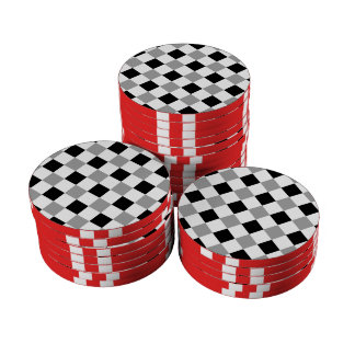 Plata blanco y negro de la tela escocesa 1 juego de fichas de póquer