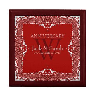 Plata+Caja de regalo roja del aniversario de boda