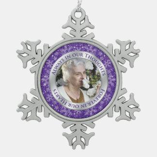 Plata conmemorativa de la púrpura del navidad de adorno de peltre en forma de copo de nieve