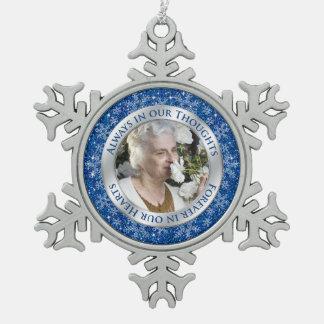 Plata conmemorativa del azul del navidad de la adorno de peltre en forma de copo de nieve
