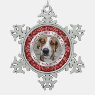 Plata conmemorativa del rojo del navidad de la adorno de peltre en forma de copo de nieve