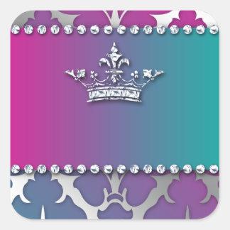 Plata-Damasco-Brillante-Invitar-Trío-Corona Pegatina Cuadrada