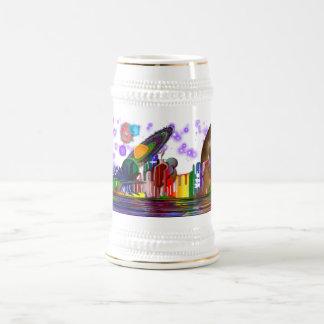 Plata de cerámica helada espacio de Stein Jarra De Cerveza