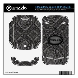 Plata de la curva de Blackberry y piel negra del d Calcomanía Para BlackBerry