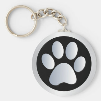 Plata de la impresión de la pata del perro, llavero redondo tipo pin