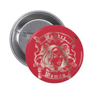 Plata de la Mujer Maravilla Pin Redondo De 2 Pulgadas