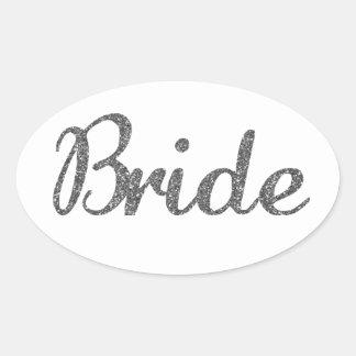 Plata de la novia del brillo calcomanía óval