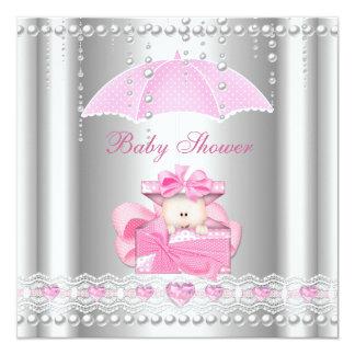 """Plata de la perla del paraguas de los rosas bebés invitación 5.25"""" x 5.25"""""""