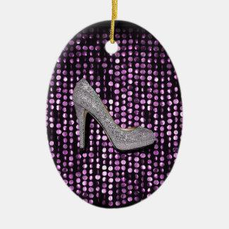 Plata de la púrpura del zapato del tacón alto de l ornamento de reyes magos