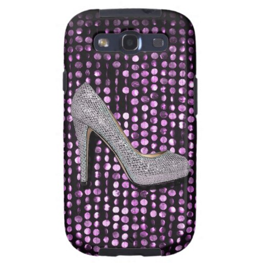 Plata de la púrpura del zapato del tacón alto de l galaxy SIII cárcasas