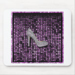 Plata de la púrpura del zapato del tacón alto de l tapete de raton