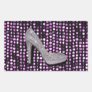 Plata de la púrpura del zapato del tacón alto de rectangular pegatinas