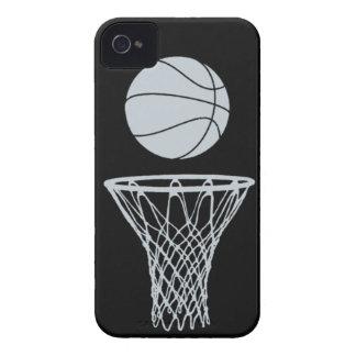 plata de la silueta del baloncesto del iPhone 4 en iPhone 4 Case-Mate Cárcasas