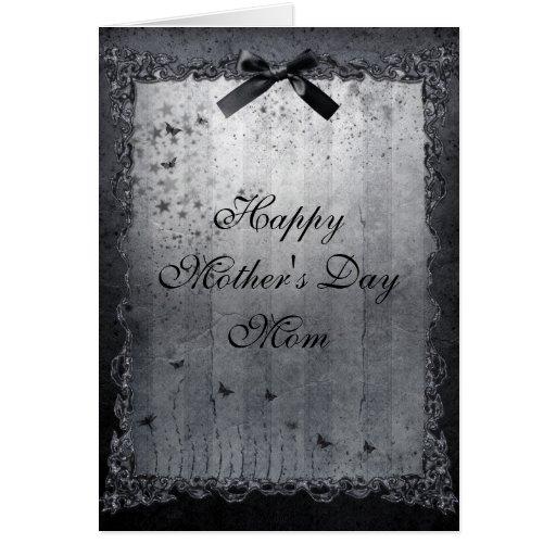 Plata de las mariposas y día de madres gótico negr felicitación