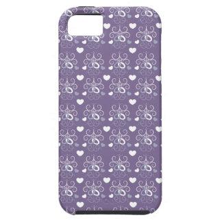 Plata de los anillos de bodas en púrpura oscura iPhone 5 carcasas