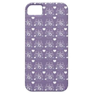 Plata de los anillos de bodas en púrpura oscura iPhone 5 funda