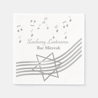 Plata de Mitzvah de la barra de la música Servilletas Desechables
