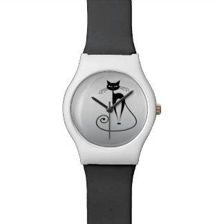 Plata de moda divertida del gato reloj