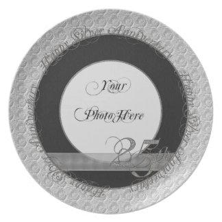 Plata de plata feliz del negro de la placa de la f platos de comidas