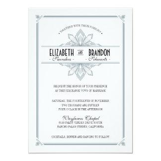 Plata de Vinatge Deco y invitación negra del boda
