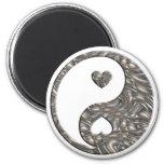 PLATA de Yin y de Yang/de los corazones Imán Redondo 5 Cm