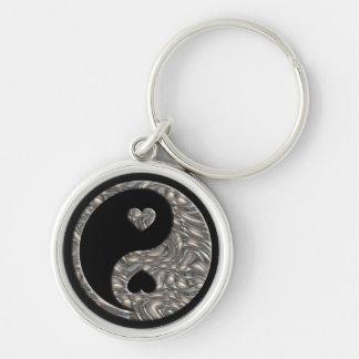 PLATA de Yin y de Yang/de los corazones Llaveros