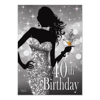 Plata del cumpleaños el   de la chispa 40.a de invitación 12,7 x 17,8 cm