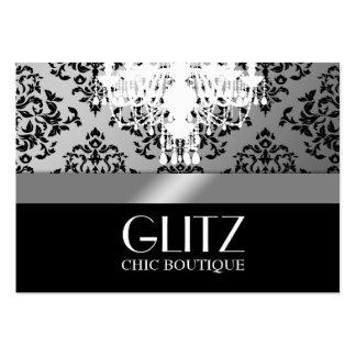 Plata del damasco del negro del boutique del Glitz Tarjetas Personales