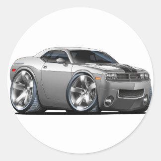 Plata del desafiador de Dodge/coche gris Pegatina Redonda