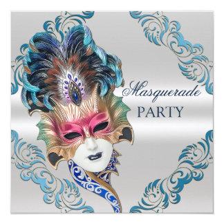 """Plata del fiesta de la mascarada de la máscara de invitación 5.25"""" x 5.25"""""""
