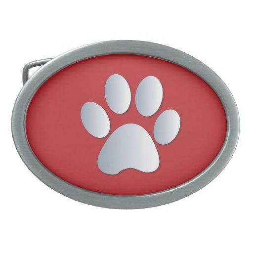 Plata del mascota del perro de la impresión de la  hebilla cinturon oval
