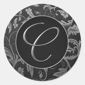Plata del monograma C y sello negro del boda del Pegatina Redonda