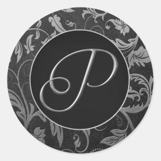 Plata del monograma P y sello negro del boda del Pegatina Redonda