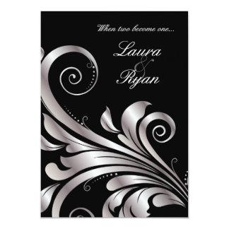 Plata del negro de la invitación del boda del