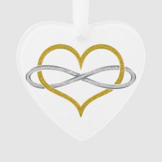 Plata del oro del infinito del corazón