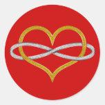 Plata del oro del infinito del corazón pegatinas