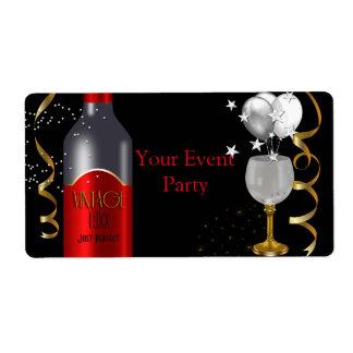 Plata del oro del negro del vino rojo del vintage etiqueta de envío