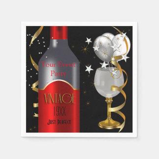 Plata del oro del negro del vino rojo del vintage servilletas desechables