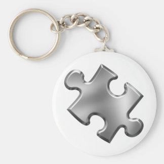 Plata del pedazo del rompecabezas del autismo llavero redondo tipo pin