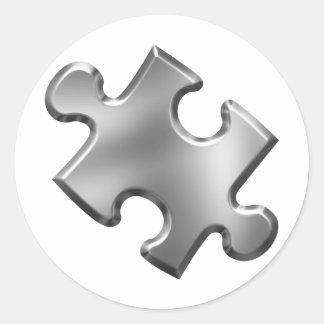 Plata del pedazo del rompecabezas del autismo pegatina redonda