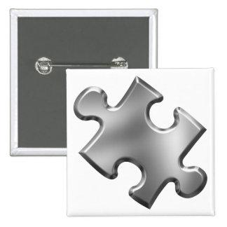 Plata del pedazo del rompecabezas del autismo pin cuadrada 5 cm